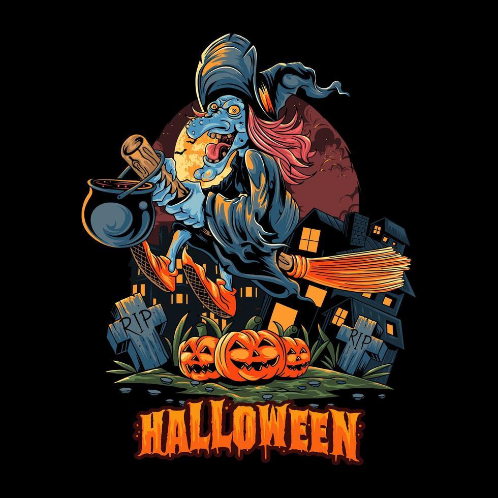 halloween heks vliegen met een bezem vector