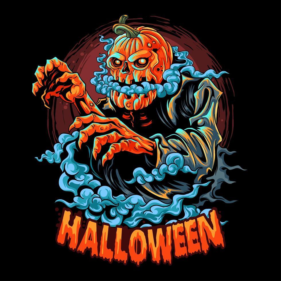 halloween-zombie met een pompoenhoofd gevuld met rook vector