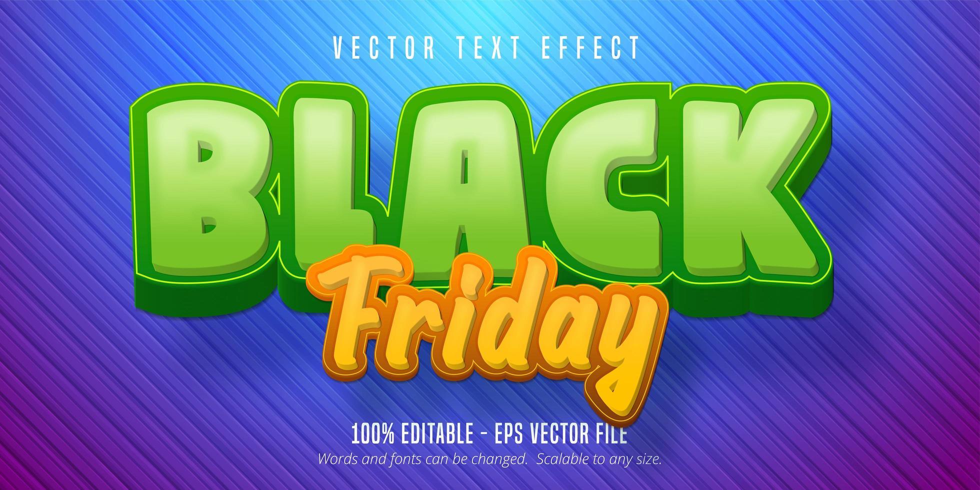 zwart vrijdag bewerkbaar teksteffect vector