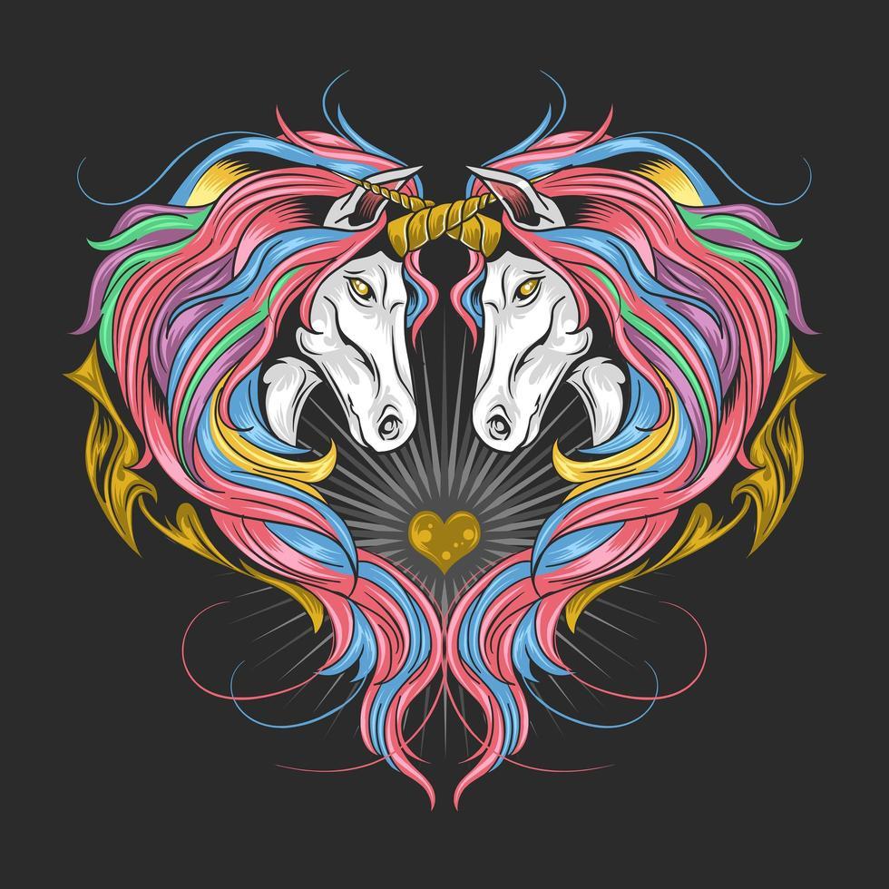 eenhoorns in een hartvorm vector