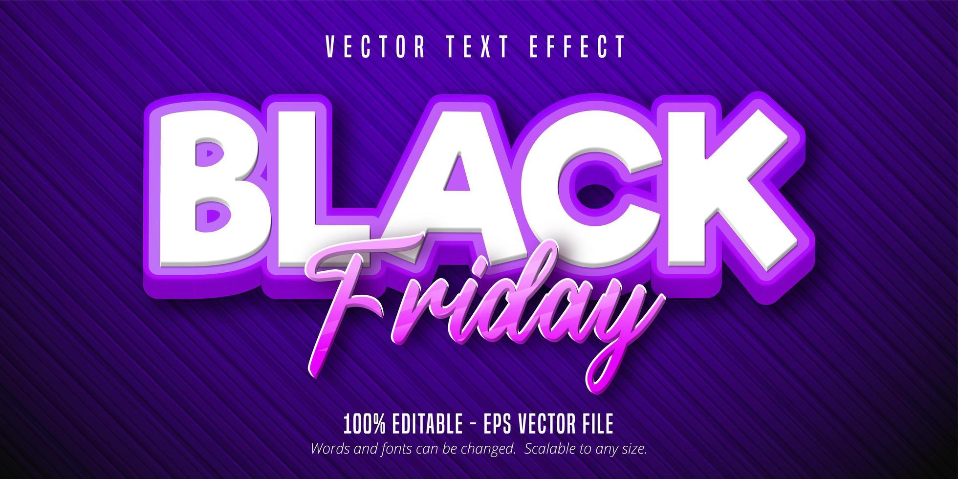 zwarte vrijdag cartoon-stijl bewerkbaar teksteffect vector