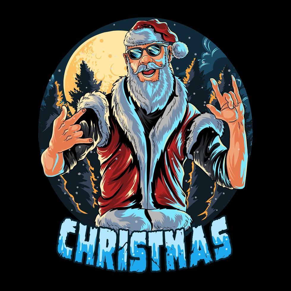 Kerstman draagt een zonnebril vector