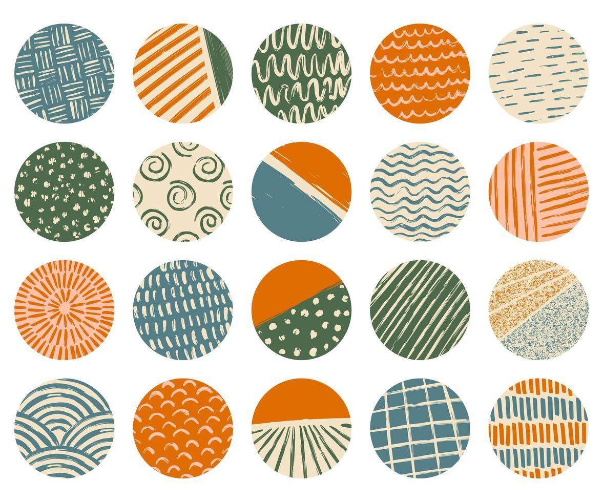 set van cirkelvormige getextureerde verschillende vormen, lijnen, vlekken, stippen vector