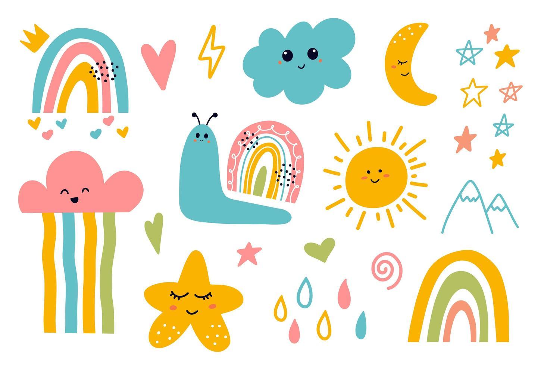 kawaii schattige lachende maan, wolk, ster, regenboog, zonelementen vector