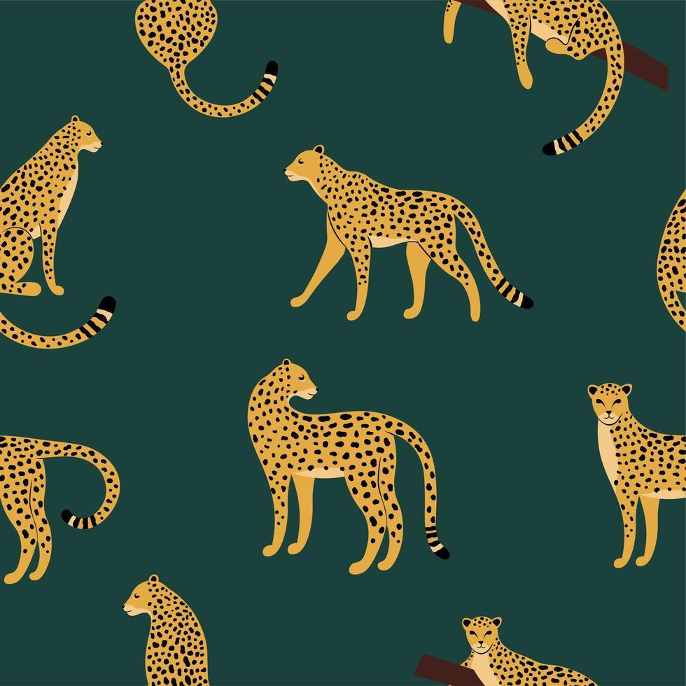 naadloos exotisch patroon met cheetah vector