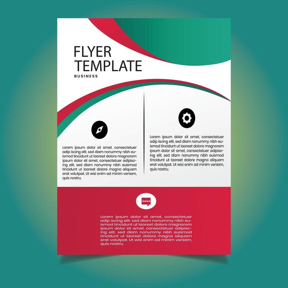 moderne groen rode corporate flyer-sjabloon vector