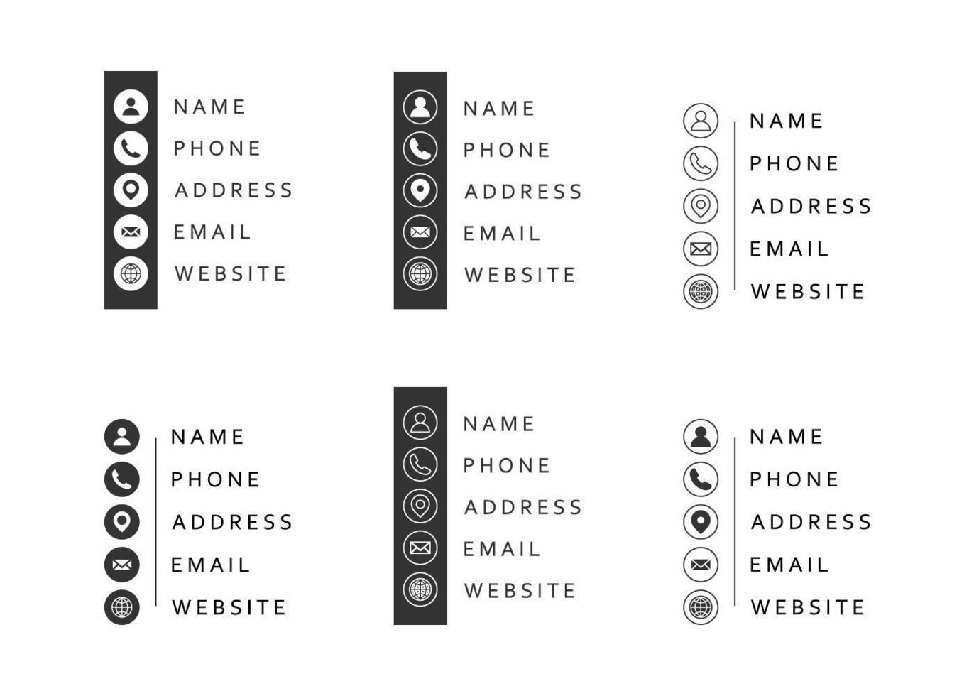 contact informatie icon set vector