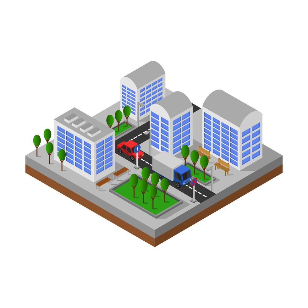 isometrische wegovergang in stadsontwerp vector