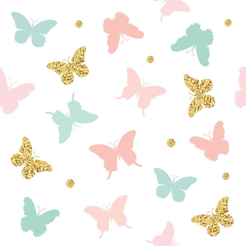glitter, pastel roze en blauwe vlinders naadloze patroon vector