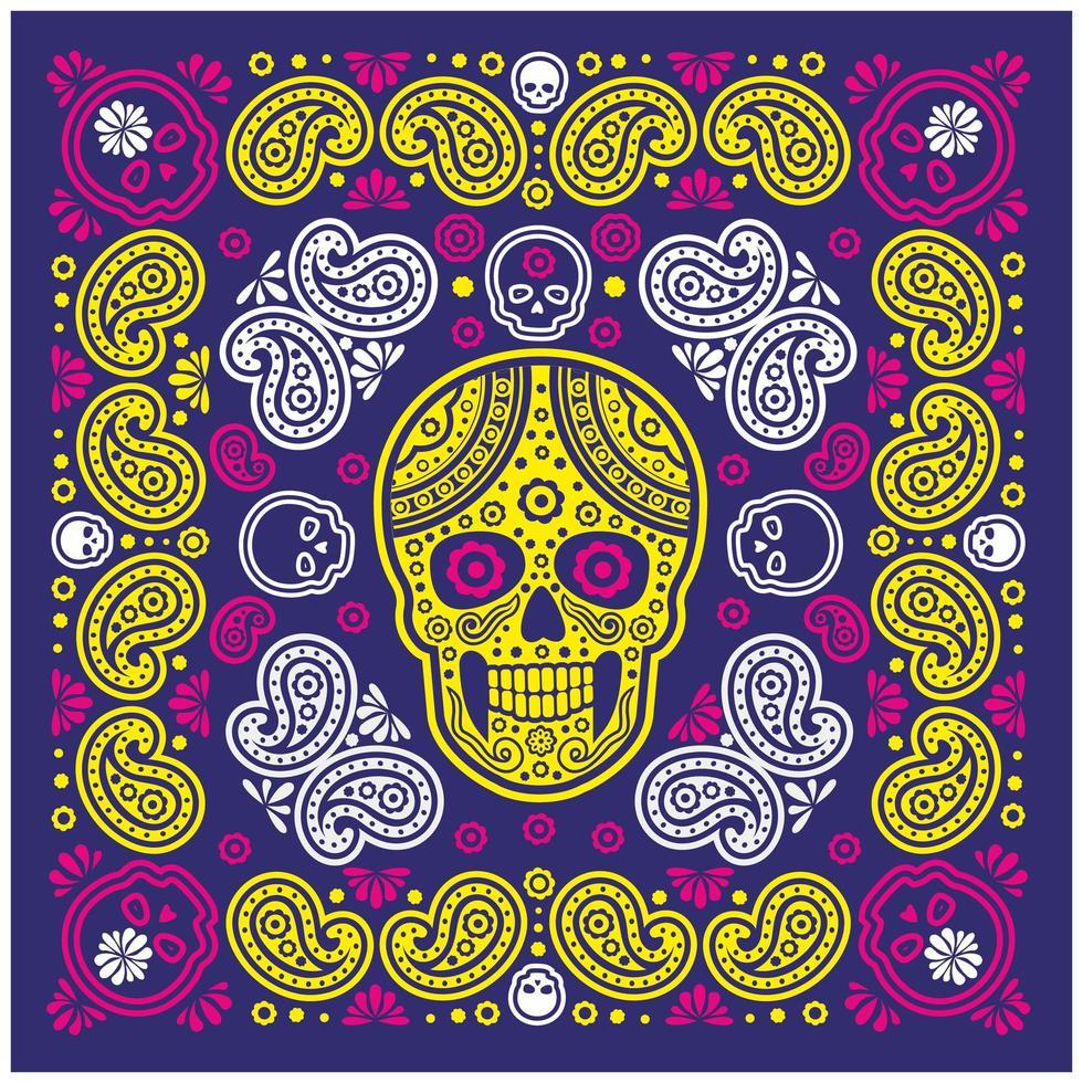 blauw, geel, roze bandanapatroon met schedel en paisley vector