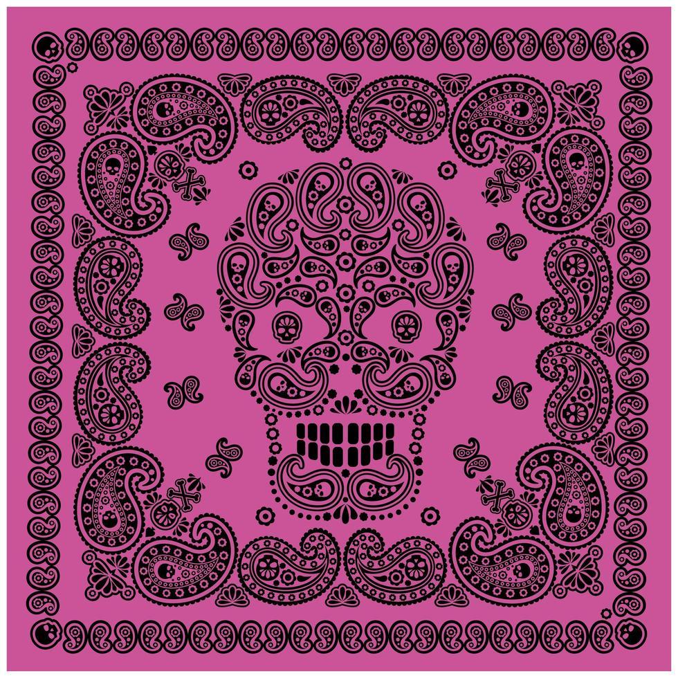 paars, zwart bandanapatroon met schedel en paisley vector