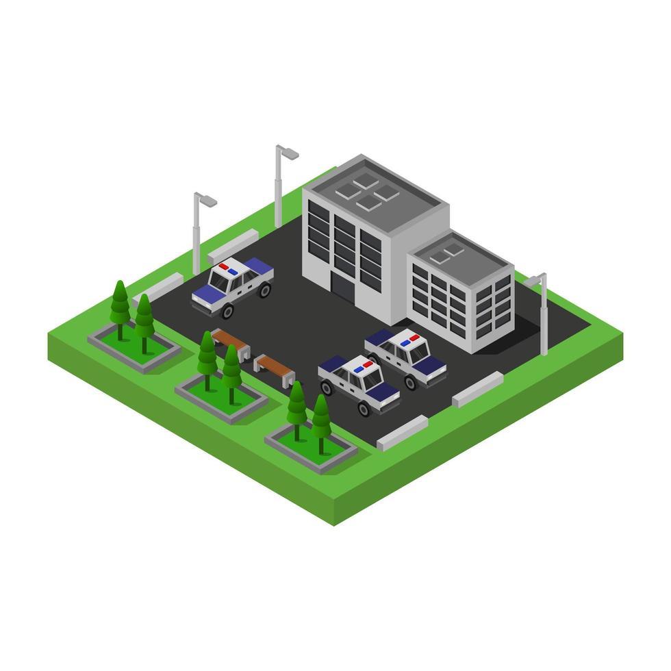isometrisch politiebureau met parkeerplaats vector