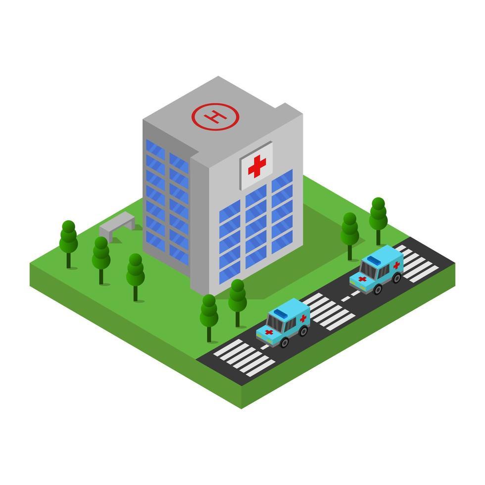 isometrisch ziekenhuis met parkeerplaatsontwerp vector