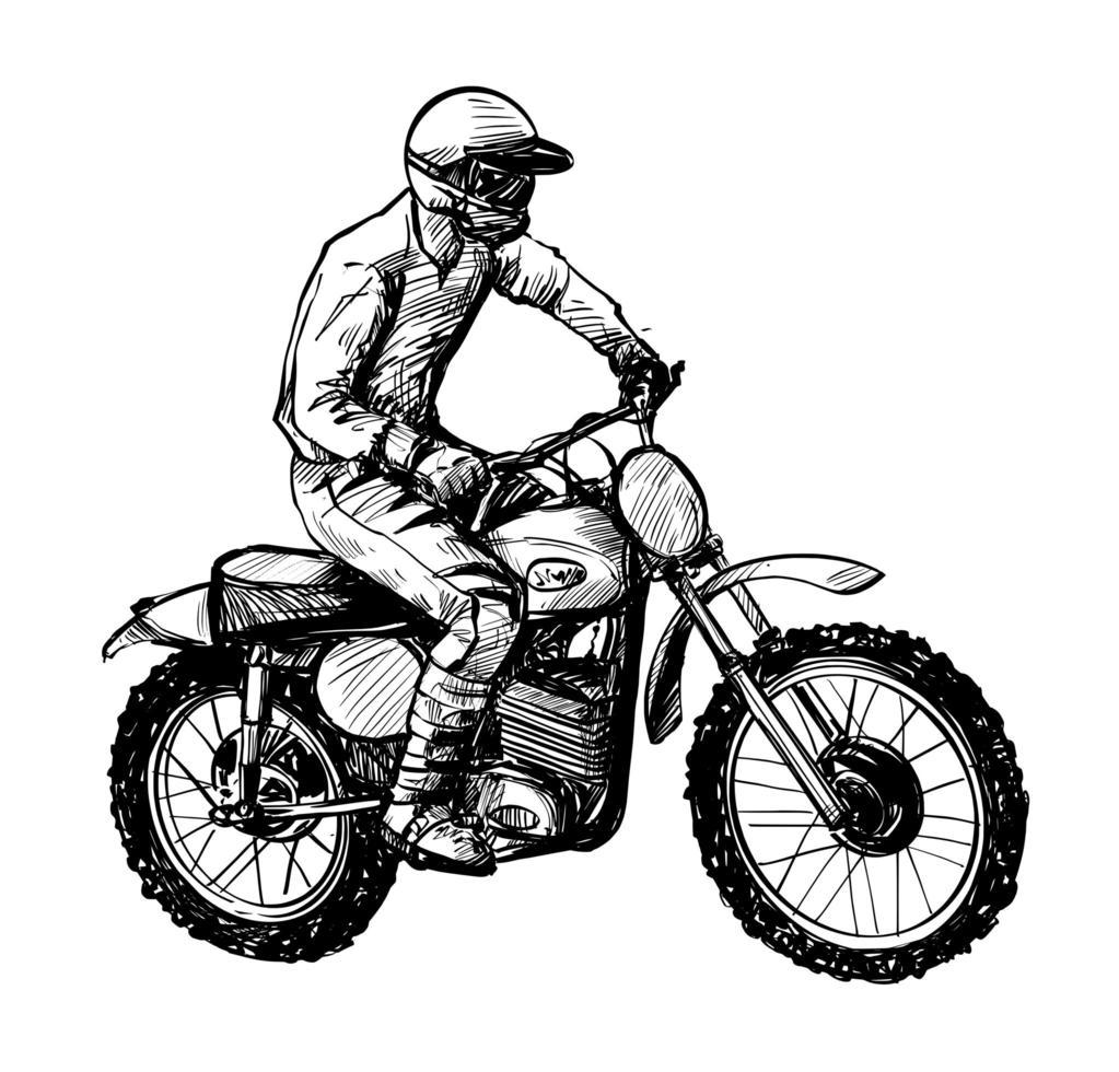 tekening van de motorrijder geïsoleerde hand getekend vector