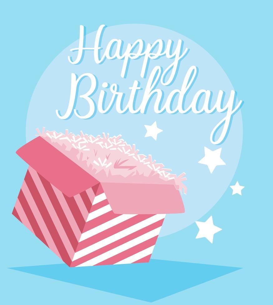 gelukkige verjaardagskaart met geschenkdoos vector