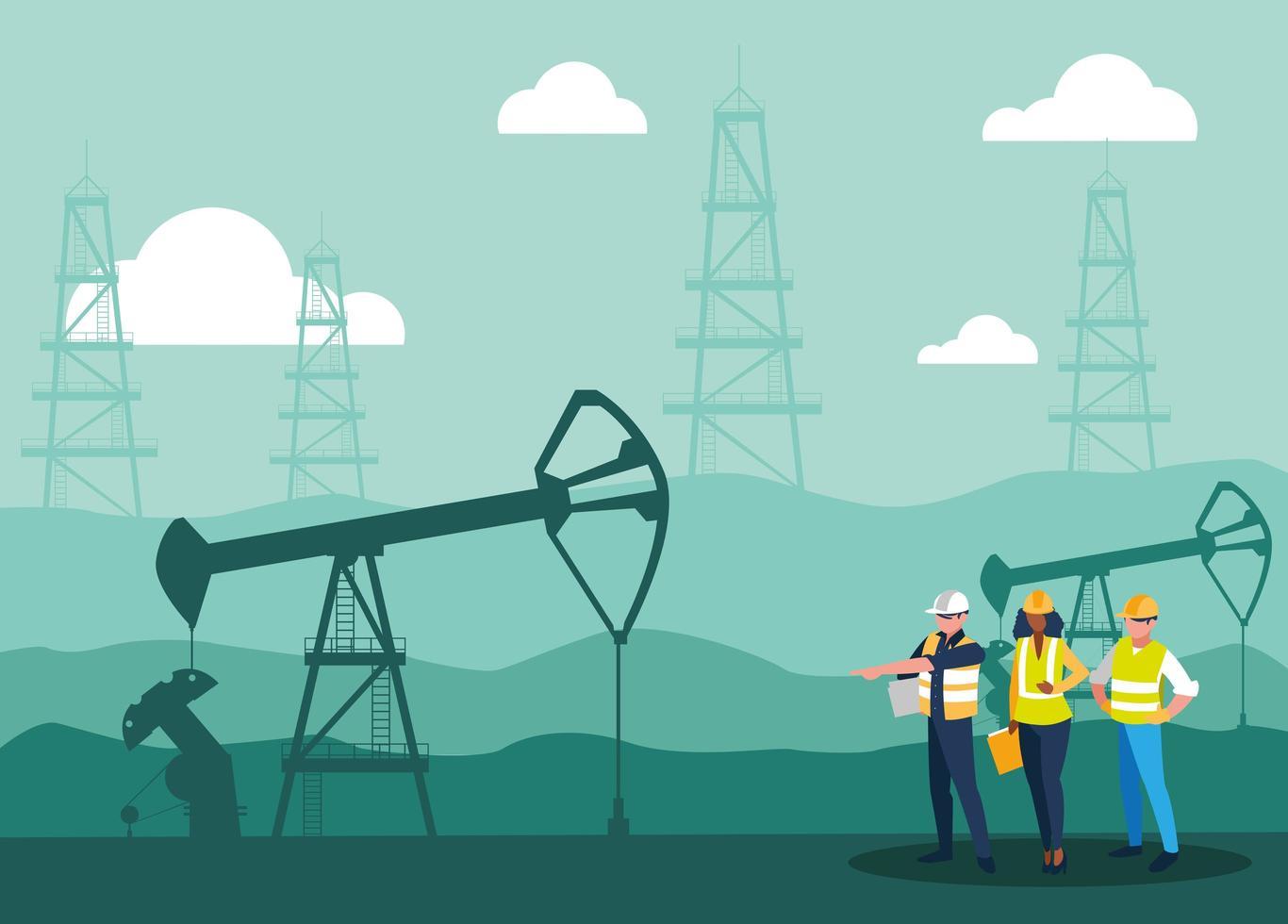 teammedewerkers die olie winnen vector