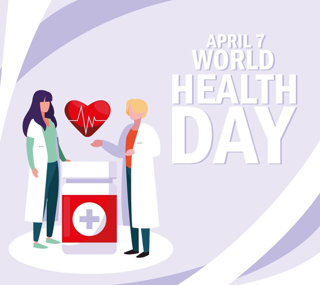 Wereldgezondheidsdag poster met artsen en medicatie vector