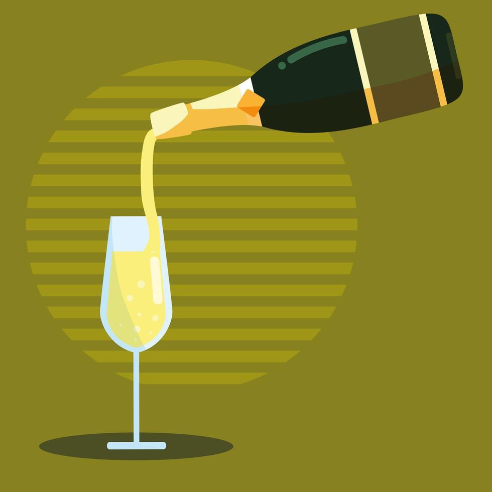 fles champagne gieten in glas vector