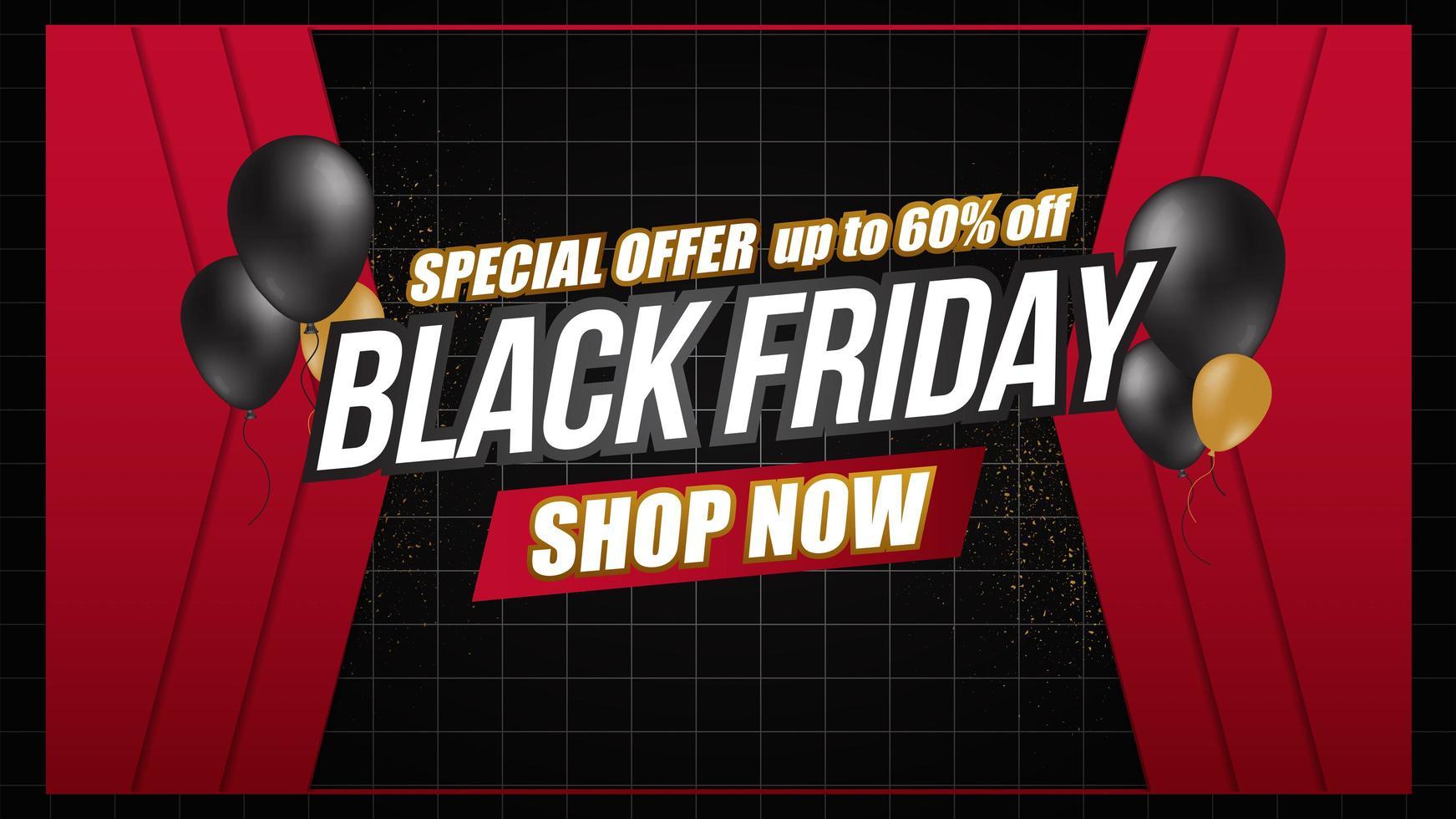 zwarte vrijdag verkoop ballonnen en raster banner vector