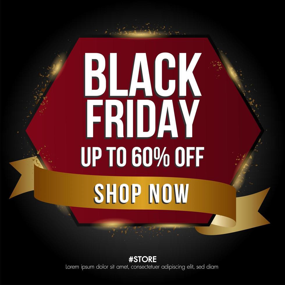 zwarte vrijdag verkoop banner zeshoek en sjabloon voor spandoek vector
