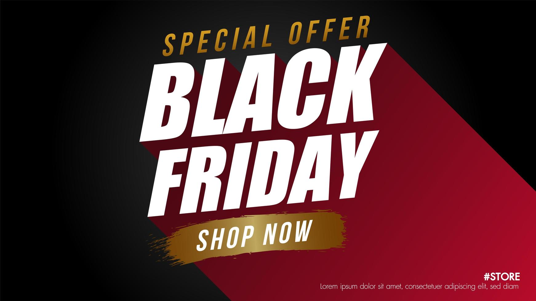 rode, zwarte en gouden zwarte vrijdagverkoopbanner vector