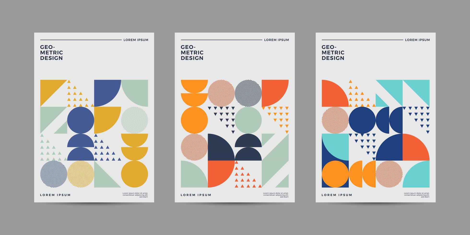set retro geometrische covers met vrolijke kleur vector