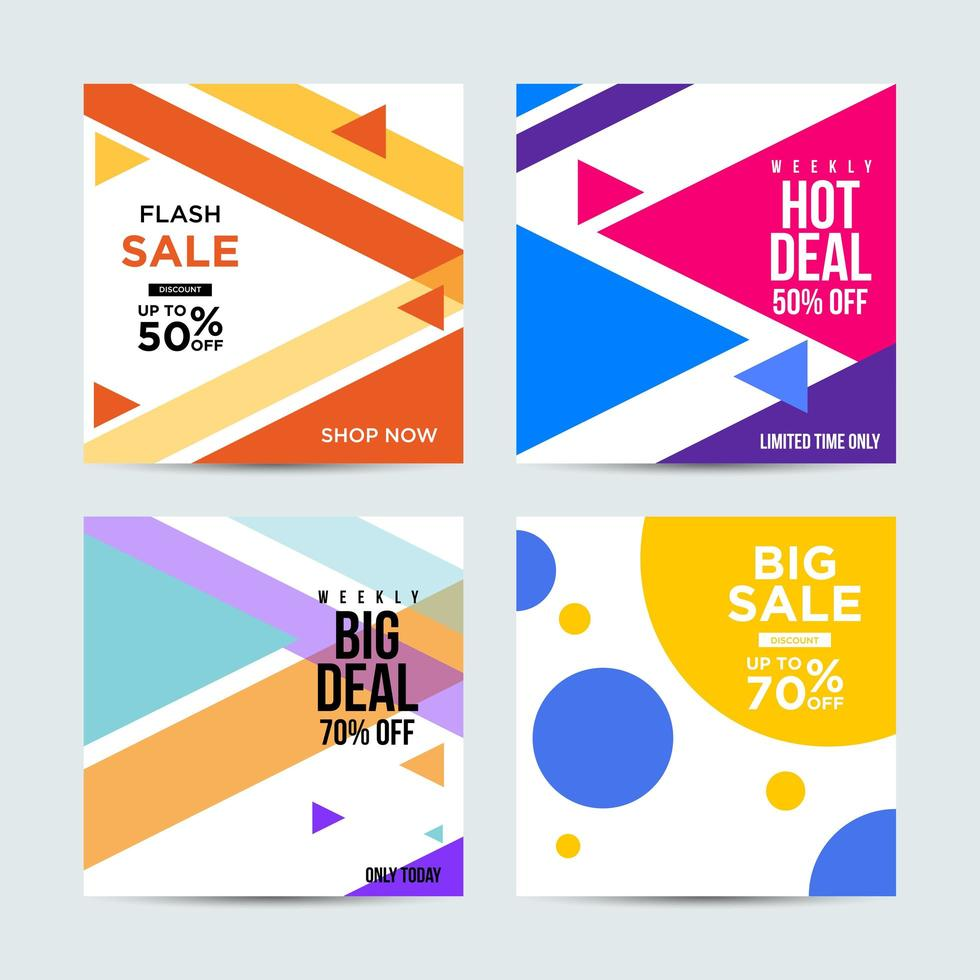 verkoop social media-berichten met felle kleuren vector