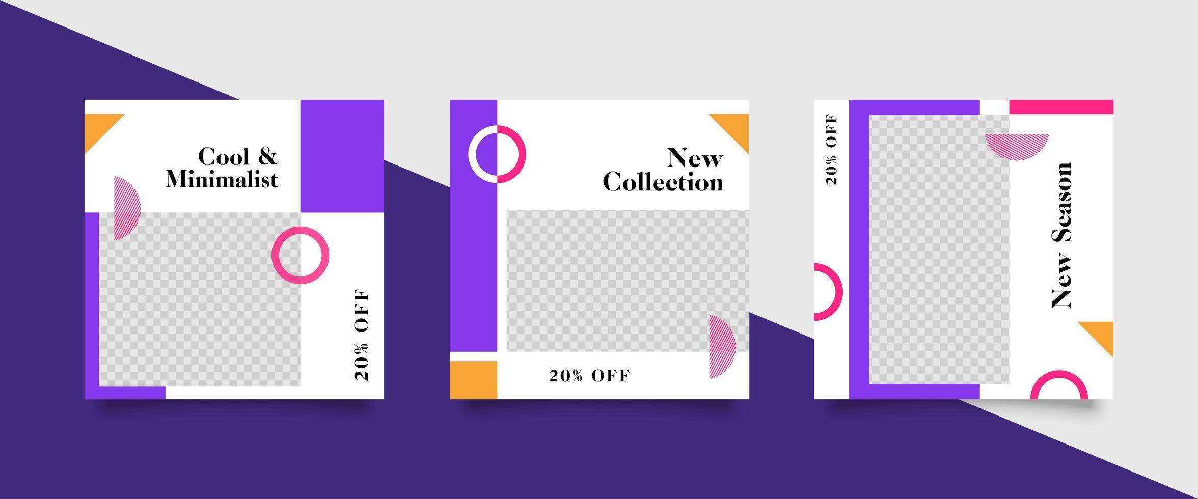 trendy bewerkbare paarse sjabloon voor sociale media vector