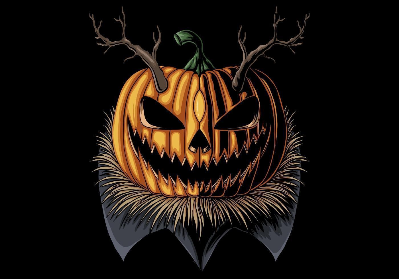 halloween gehoornde pompoen vector