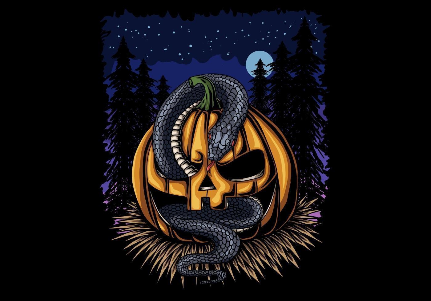 halloween pompoen en slang 's nachts vector