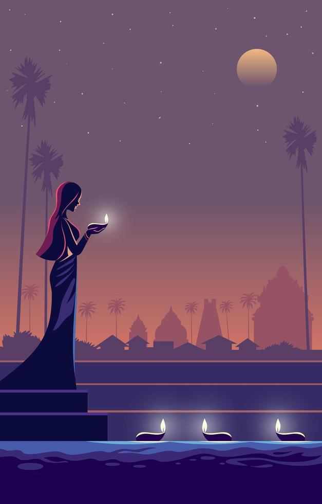 een vrouw die diwali indisch festival viert vector