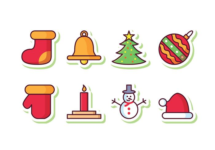 Gratis Christmas Sticker Icon Set vector