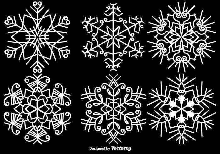 Elegante Witte Sneeuwvlokken Vector Set