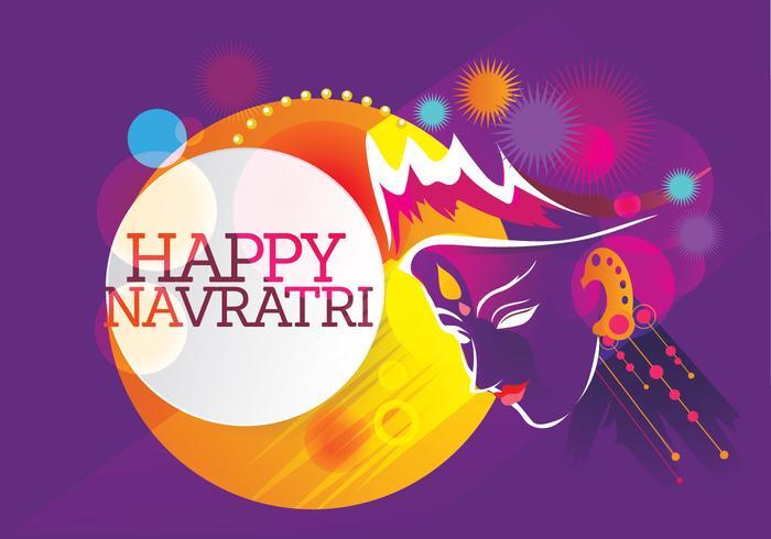 Maa Durga Retro Achtergrond voor Hindoe Festival Shubh Navratri vector