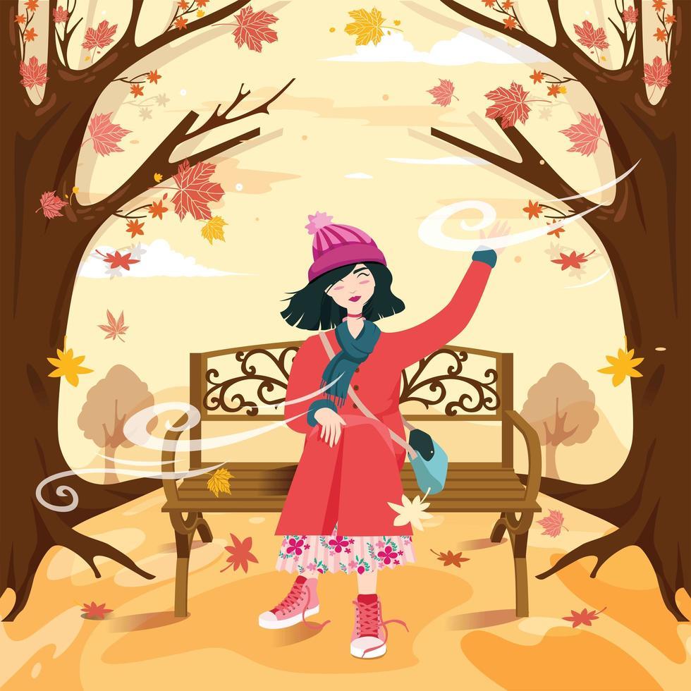 een vrouw die geniet van de herfstbries vector