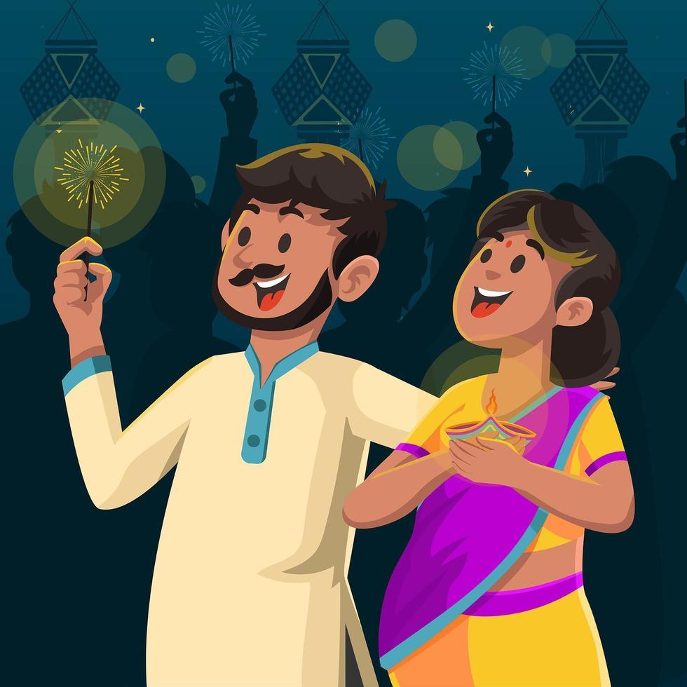heerlijke avond op diwali-festival vector