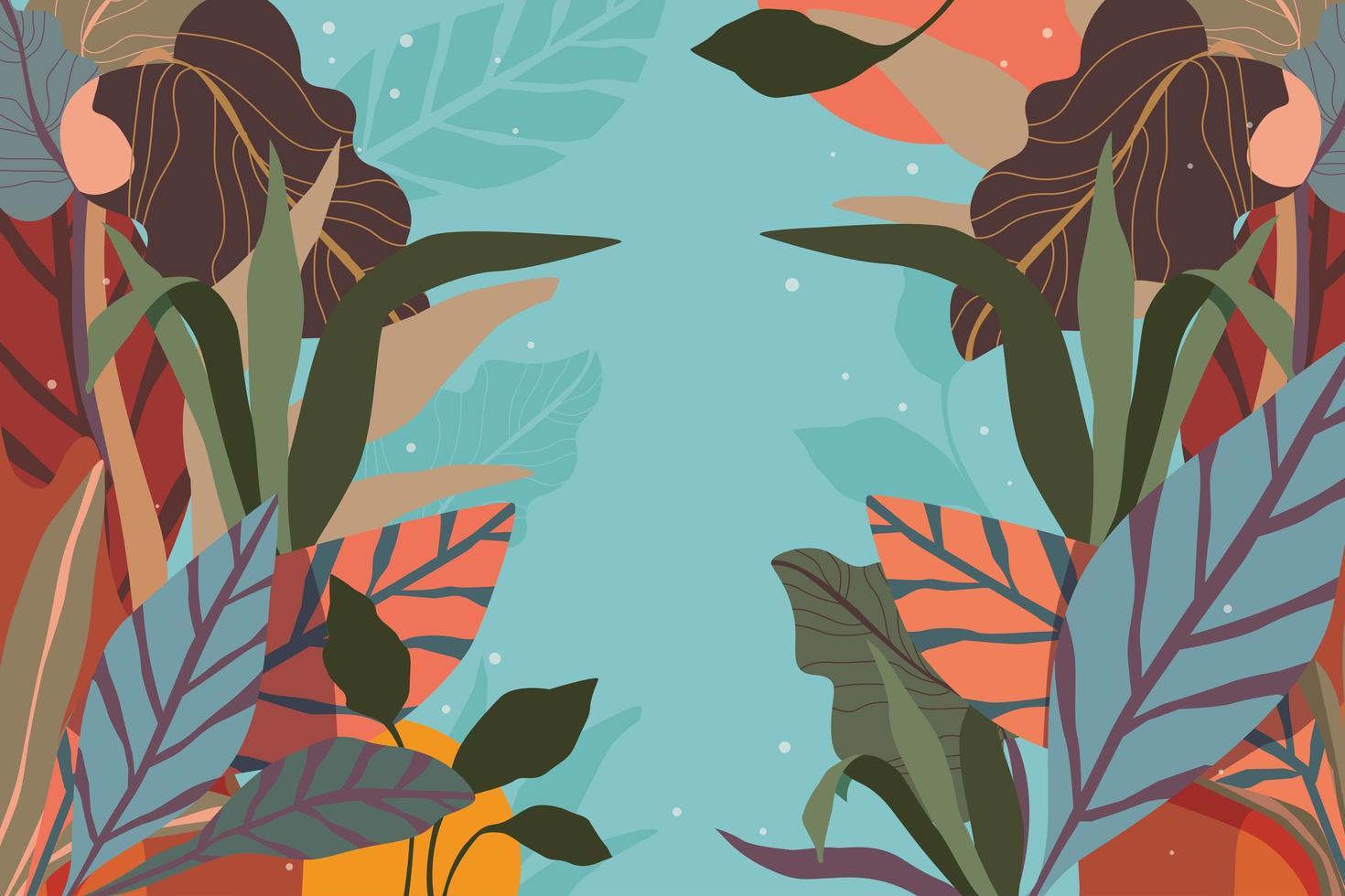 abstract gebladerte en bloemen arrangement achtergrond vector