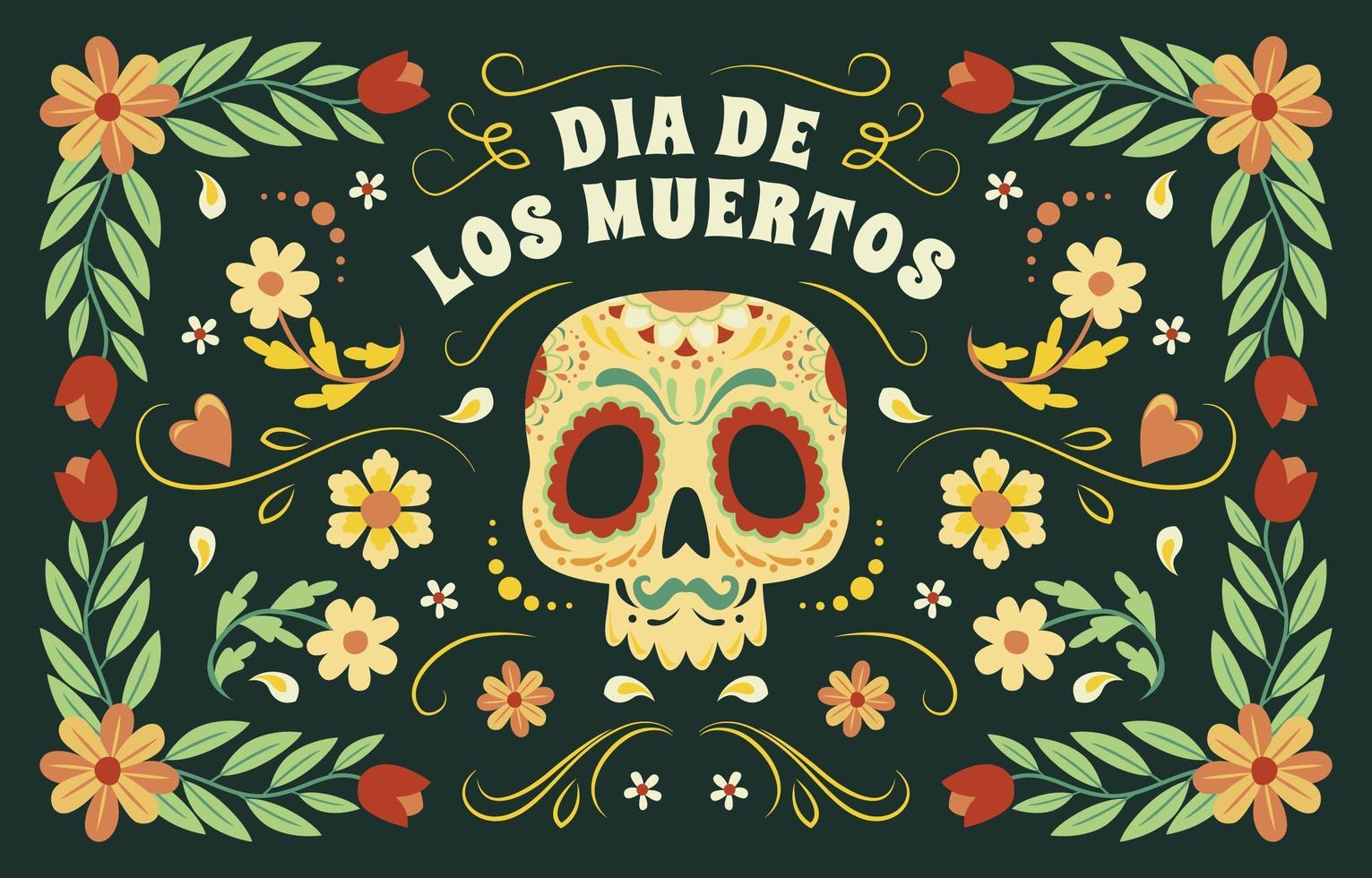 dia de los muertos kleurrijke achtergrond vector