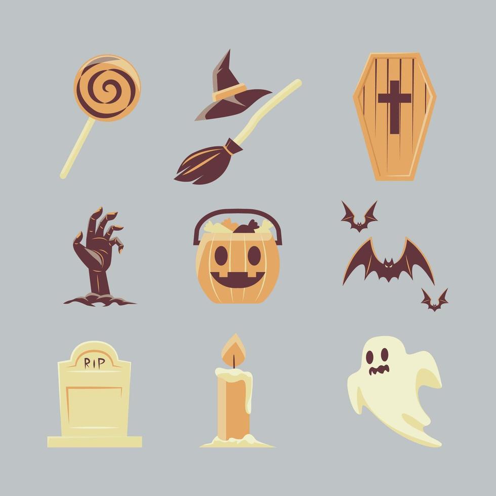 halloween pictogrammenset in vintage stijl vector