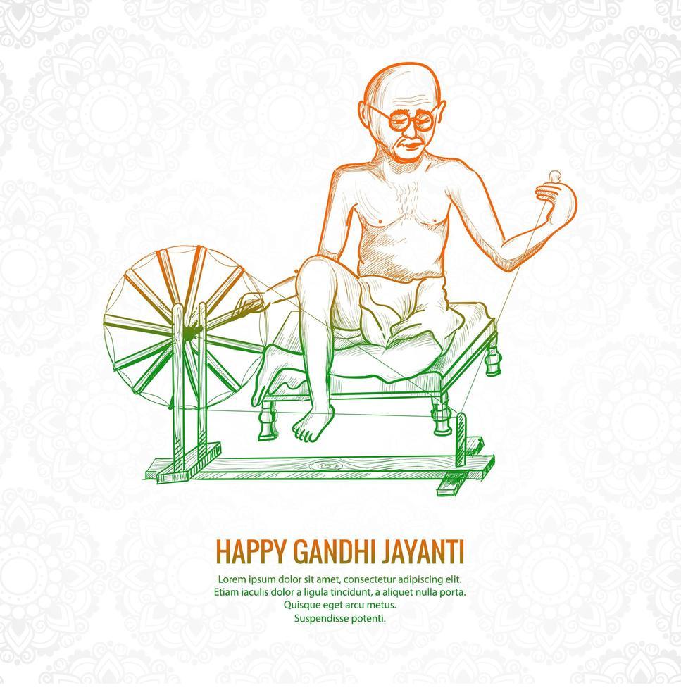 mahatma gandhi voor gandhi jayanti achtergrond vector