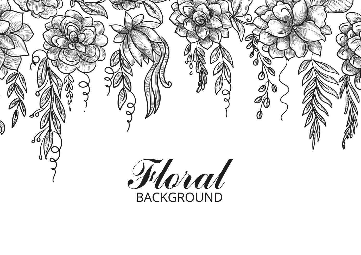 sier decoratieve bloemen schets achtergrond vector