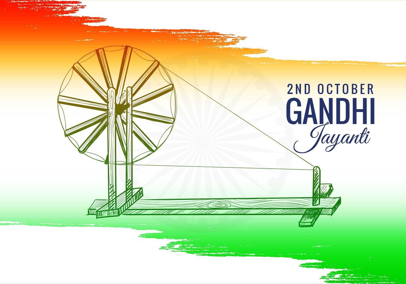 spinnewiel op de achtergrond van India 2 oktober gandhi jayanti vector