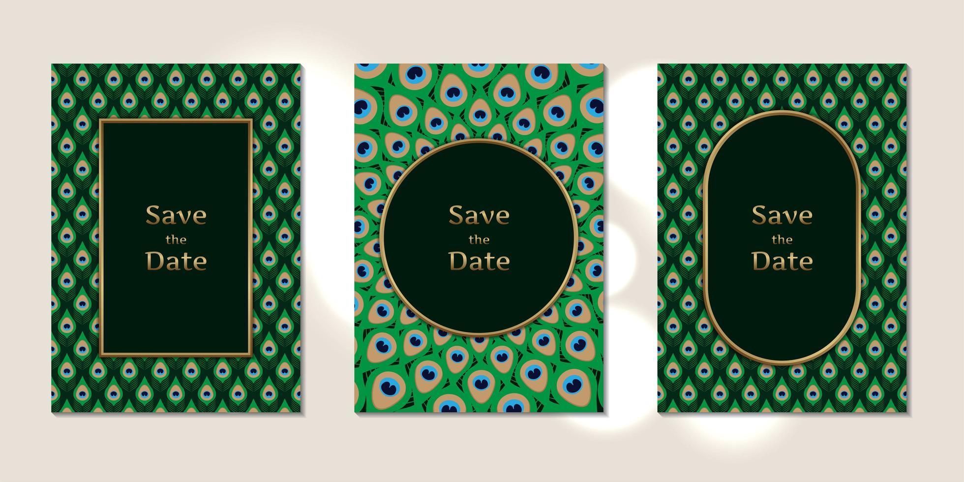 bruiloft uitnodigingskaarten pauwenveren patroon vector