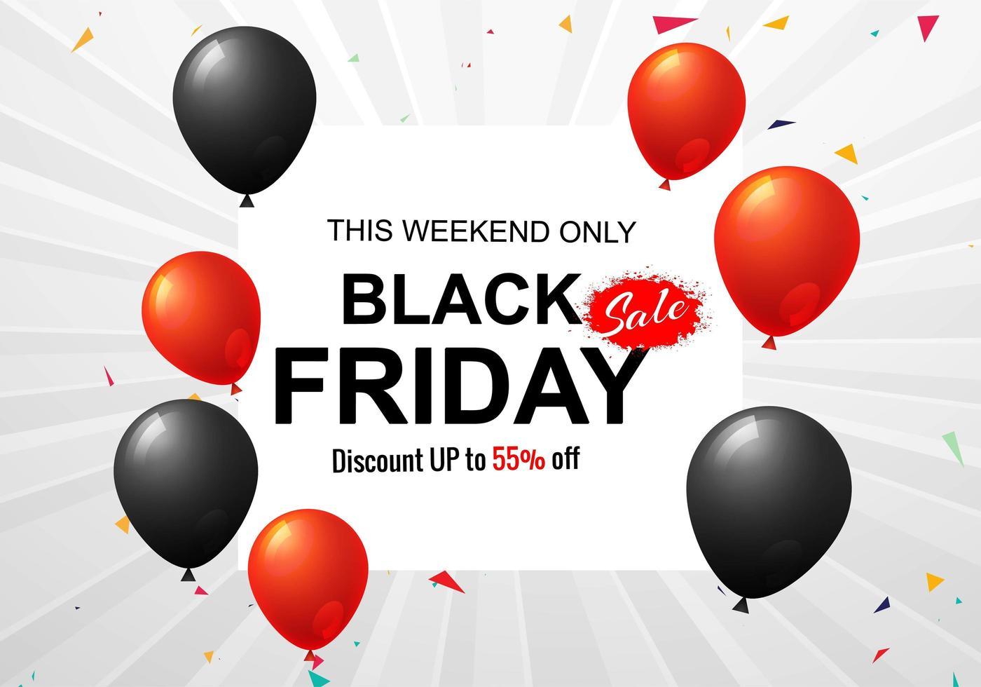 zwarte vrijdag verkoop poster voor ballonnen en confetti achtergrond vector