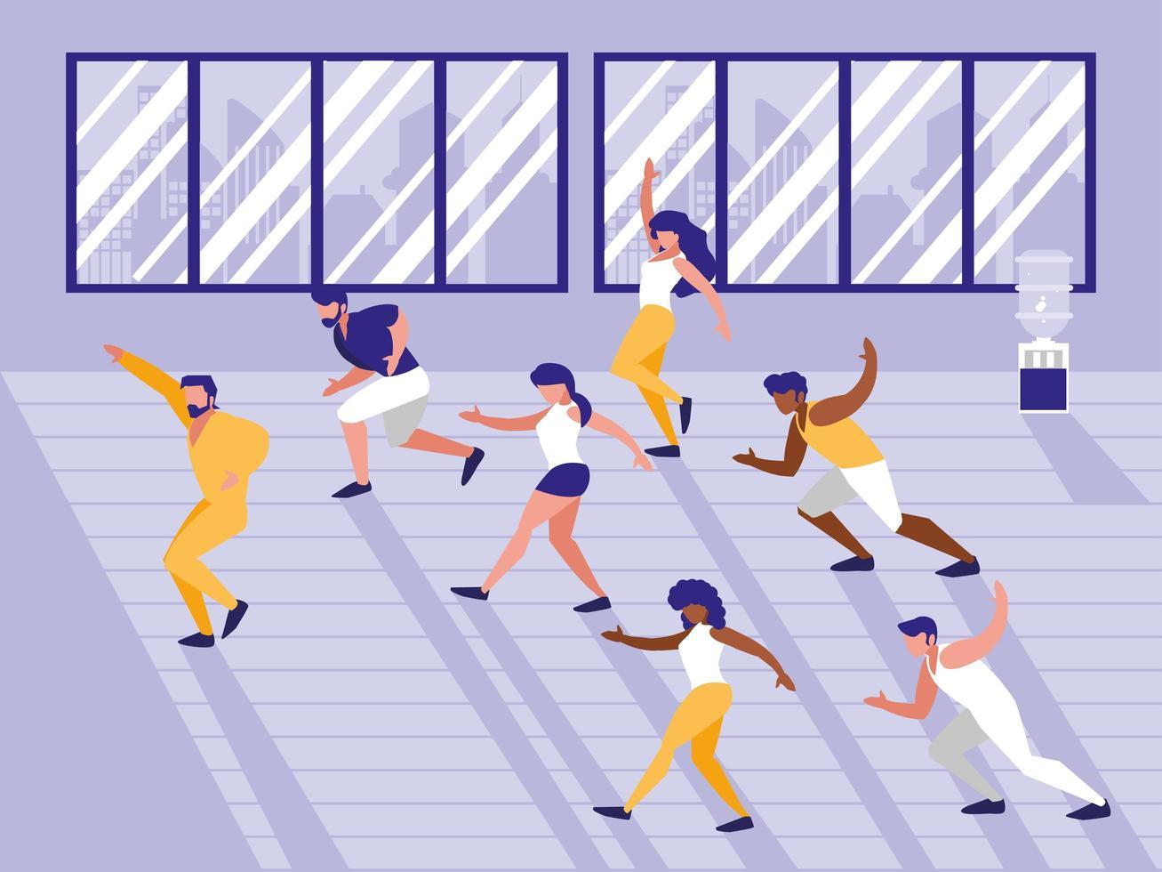 mensen doen aerobics avatar karakter vector