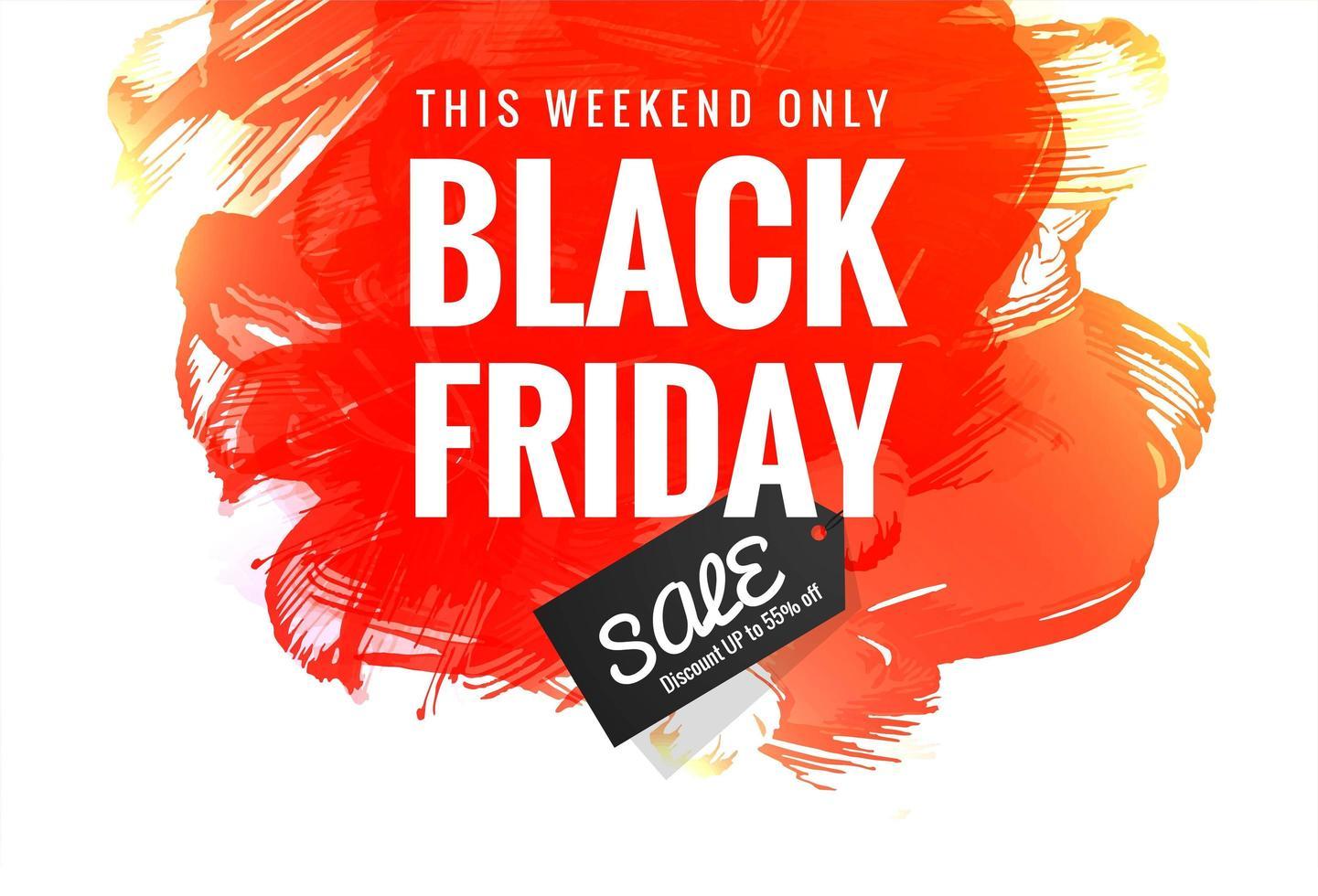 zwarte vrijdag concept met aquarel vlek achtergrond vector