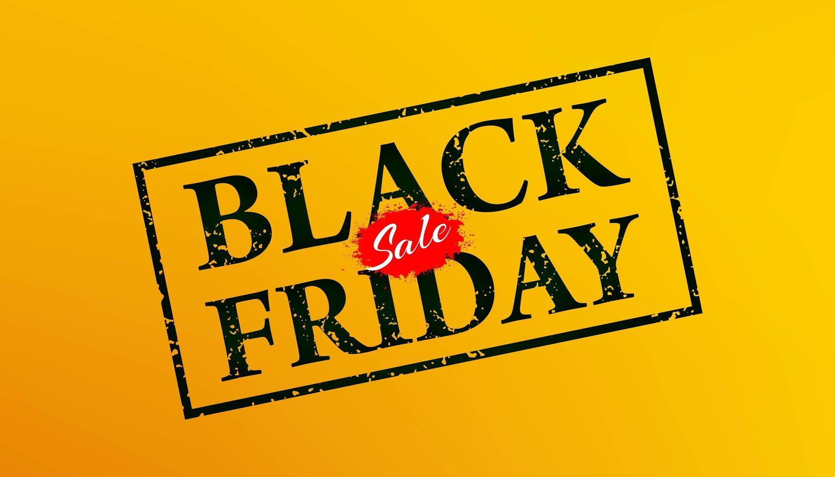 zwarte vrijdag grunge rubberzegel op oranje achtergrond vector