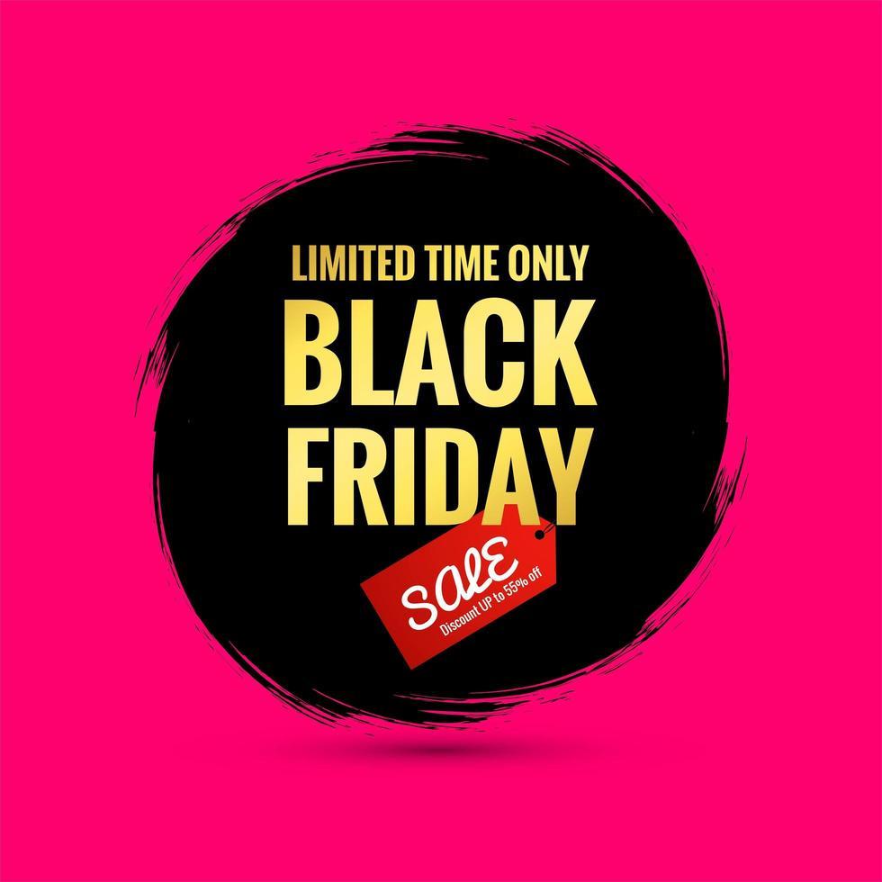 zwarte vrijdag verkoop poster op een handgeschilderde splash borstel achtergrond vector