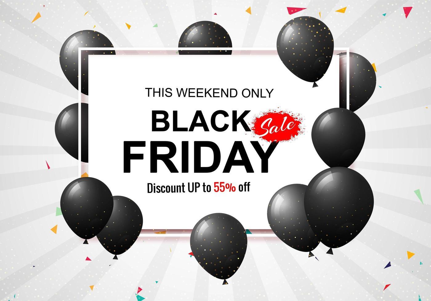 zwarte vrijdag verkoop poster met ballonnen en confetti achtergrond vector