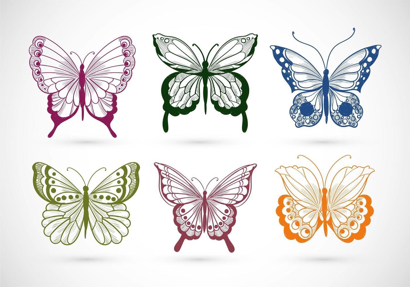 hand getrokken collectie van mooie kleurrijke vlinders vector
